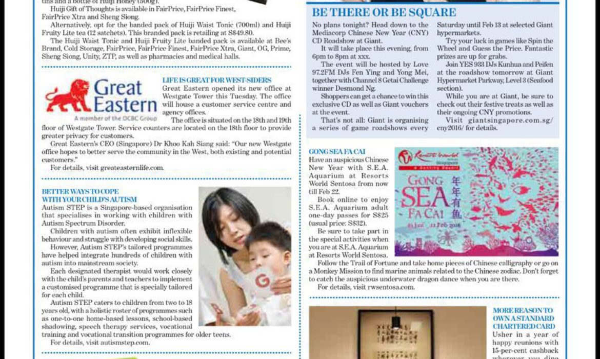 Autism STEP is featured on TODAY Newspaper!