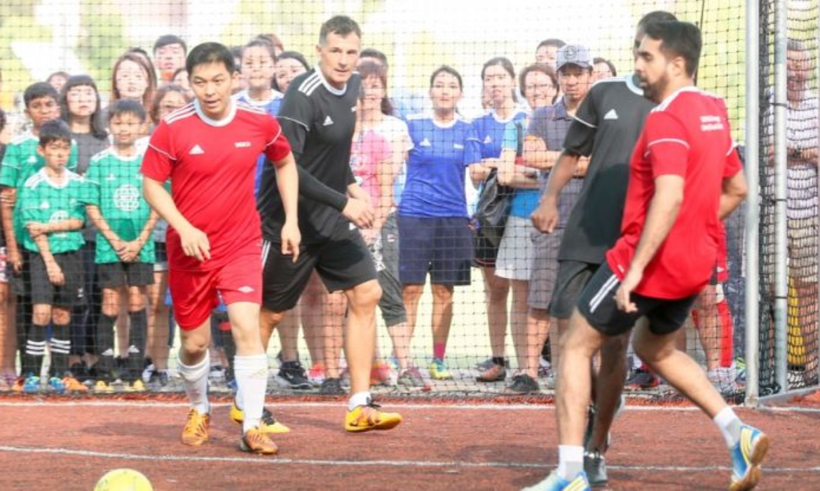 Speaker Tan Chuan-Jin and MPs play futsal with Fandi and other Singapore football legends for charity