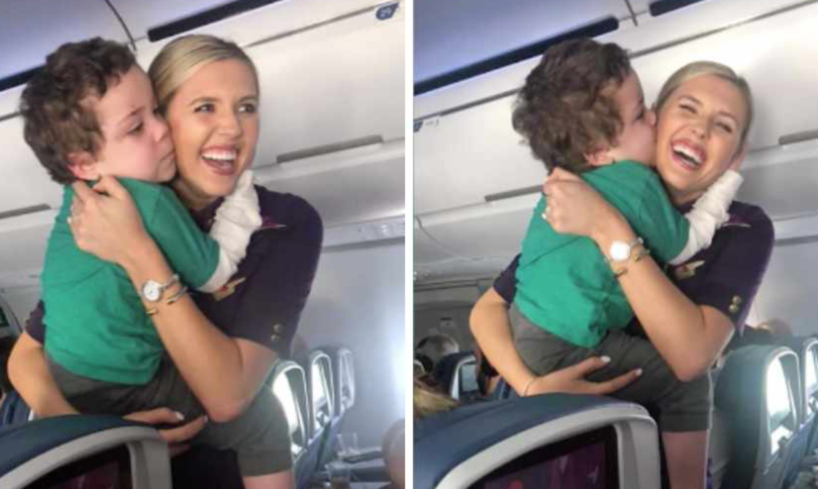 Flight Attendant Gives Young Autistic Boy Tour of Plane to Distract Him from Rough Flight
