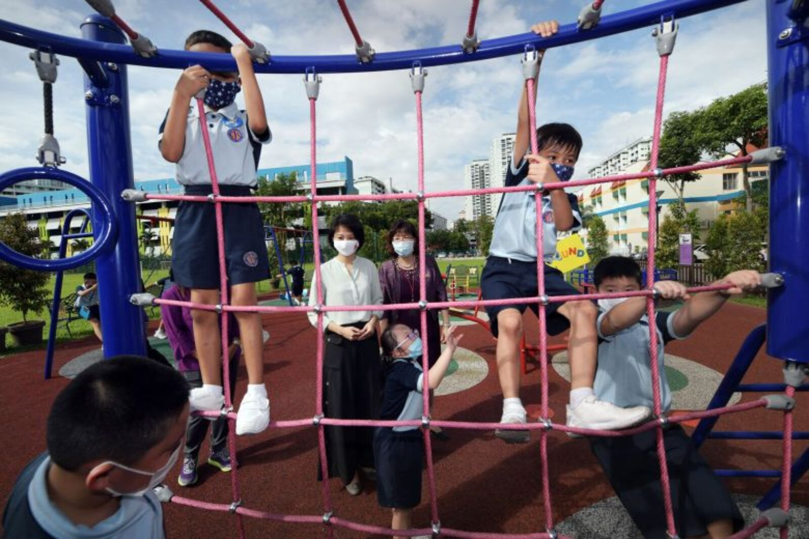 School Kids Playing at Playground - Joint campus for 2 special ed schools